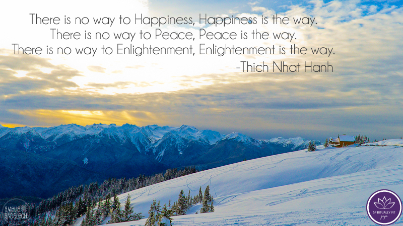 There is no way to Happiness, Happiness is the way. There is no way to Peace, Peace is the way. There is no way to Enlightenment, Enlightenment is the way.